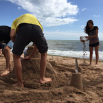 Building Sand Castles on Exmouth Beach