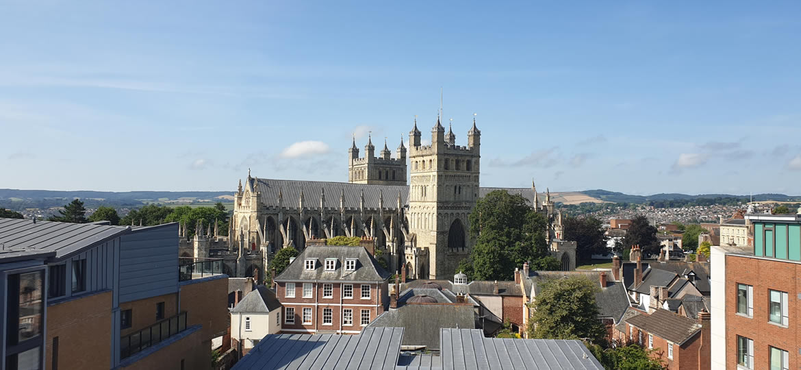 Exeter Cathedral Elevated View