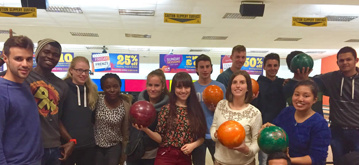 Students out bowling with our Activity Leader Desman as part of our Student Activity Excursions
